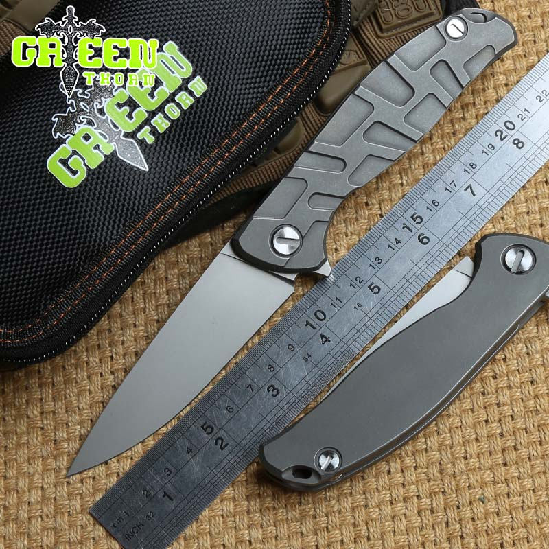 Green thorn F95 Flipper folding knife bearing D2 blade TC4 Titanium handle outdoor camping hunting pocket fruit knife EDC tools ch3002g10 new original design flipper folding knife d2 knife ball bearing g10 steel handle camping fruit knife edc tools