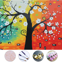 Trees And White Flowers Diy Oil Painting Frameless Picture On Wall Acrylic Painting By Numbers On