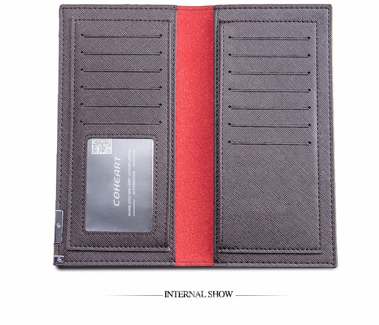 Men's Leather Slim wallet - Soft Male Clutch Luxury Brand