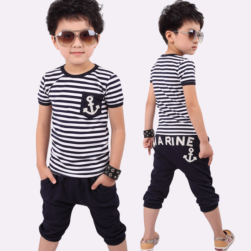 2017 Baby&Kids Summer Sailor Children Clothing Sets Stripe Short Sleeve T-shirt Tops Pants Outfit Kids Boys Clothing Suit F1203 2015 new arrive super league christmas outfit pajamas for boys kids children suit st 004