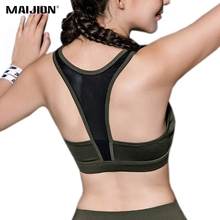 MAIJION Women Absorb Sweat Yoga Sports Bra, Seamless Padded Gym Fitness Bra Vest, Breathable Athletic Running Cropped Tops Vest