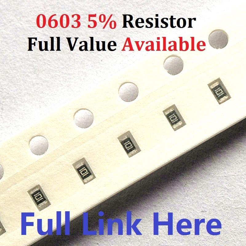 100PCS  (0 Ohm To 10M) Ohm SMD Chip Resistor 0603 10K Ohm 5% Chip Resistors 0R 1K 2.2K 3.3K 4.7K 4K7 10K 100K 560R Ohm Kit