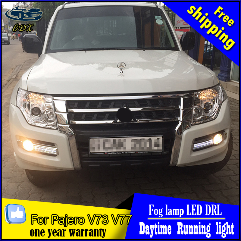Auto Car Daytime Running Lights Fog Lamp White LED DRL Yellow Turn Signal Fit For Mitsubishi Pajero 2015 2016 2017 Free Shipping car drl running lights for mitsubishi pajero 2007 led daytime driving light