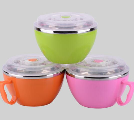 Stainless Steel Noodles Bowl Heat Insulation Soup Bowl Double Layer Children's Bowl With Handle