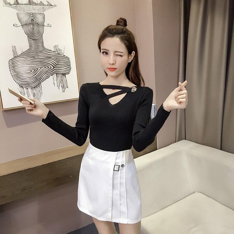 2017 Primavera Nuevo Estilo Coreano V-cuello Hueco Viento Colegio Tejer Camisas