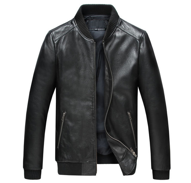 Top quality Men Embroidery cowhide  Genuine Leather Coats 3XL Motorcycle Jacket Real leather jacket Slim Fit Black 2019 clothing