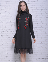 Autumn Winter Vintage Floral Embroidery Dress Tunic Dress Long Sleeve Lace Patchwork Casual Turtleneck Dress 2017