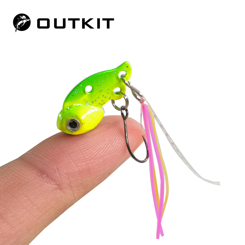 OUTKIT New Arrival Mini vib Fishing Lure Lead Copper Metal Lures Hard Bait 3g Artificial Freshwater Bait outkit 10pcs lot copper lead sinker weights 10g 7g 5g 3 5g 1 8g sharped bullet copper fishing accessories fishing tackle