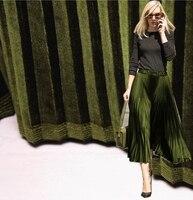2017 جديد أزياء الساخن بيع المعدنية الزيتون الأخضر أضعاف pleuche النسيج مطوي تنورة الافريقي متر مشرق tissu القماش ديي