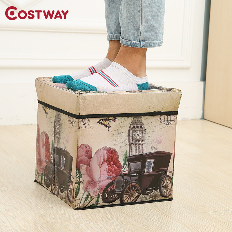COSTWAY Multi-function Non-woven Retro Folding Storage Stool Sit Box Shoes Stool Storage Box Organizer Home Decoration W0134 exquisite multi function metal storage box silver