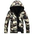 Camuflagem de Inverno Quente dos homens Para Baixo Desgaste em Ambos Os Lados Frente Zipper Slim Fit Grosso Casaco Jaqueta com Capuz