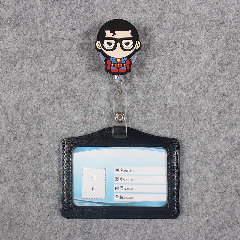 4 Styles Glasses Boy Black Man Badge Scroll B Reel Cute Scalable Nurse Exhibition Entrance Guard Card Plastic PU Card Holder