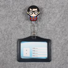 4 Styles Glasses Boy Black Man Badge Scroll B Reel Cute Scalable Nurse Exhibition Entrance Guard Card Plastic PU Holder