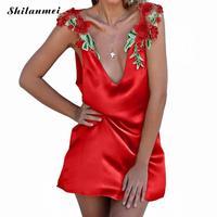 2017 여성 여름 드레스 짧은 슬립 드레스 화이트 골드 레드 빈티