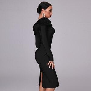 Image 5 - Robe à bandes à manches longues pour femme, nouvelle robe Sexy moulante à manches longues pour femme, avec Vent, fête de noël, nouveauté, automne 2020