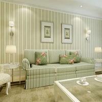 Papel De Parede England Simple Bedroom Living Room Wallpaper Green Pure Paper Wallpaper Vertical Striped Wallpaper