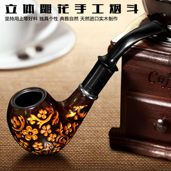 Chinese specialty Large classic solid wood entry level loop filter smoking pipe briar carved smoking set Chinese specialty фото