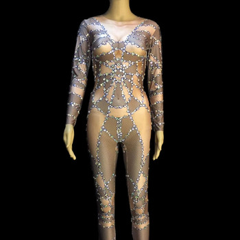 Sparkly Crystals Sexy Women's Jumpsuit Nightclub Rompers Celebrate Outfit Bar Stage Show Costume Female Singer Bodysuit Wear DJ