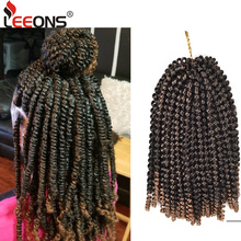 hot deal buy leeons kanekalon crochet hair braids 8inch soft spring twist hair extension micro synthetic curly weave crochet braids 30roots