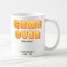 Geek Funny Game Over Mug Game Over Drink Again Continue Or Not Ceramic Coffee Mug Cups Gaming Gamer Creative Letter Mugs Gifts