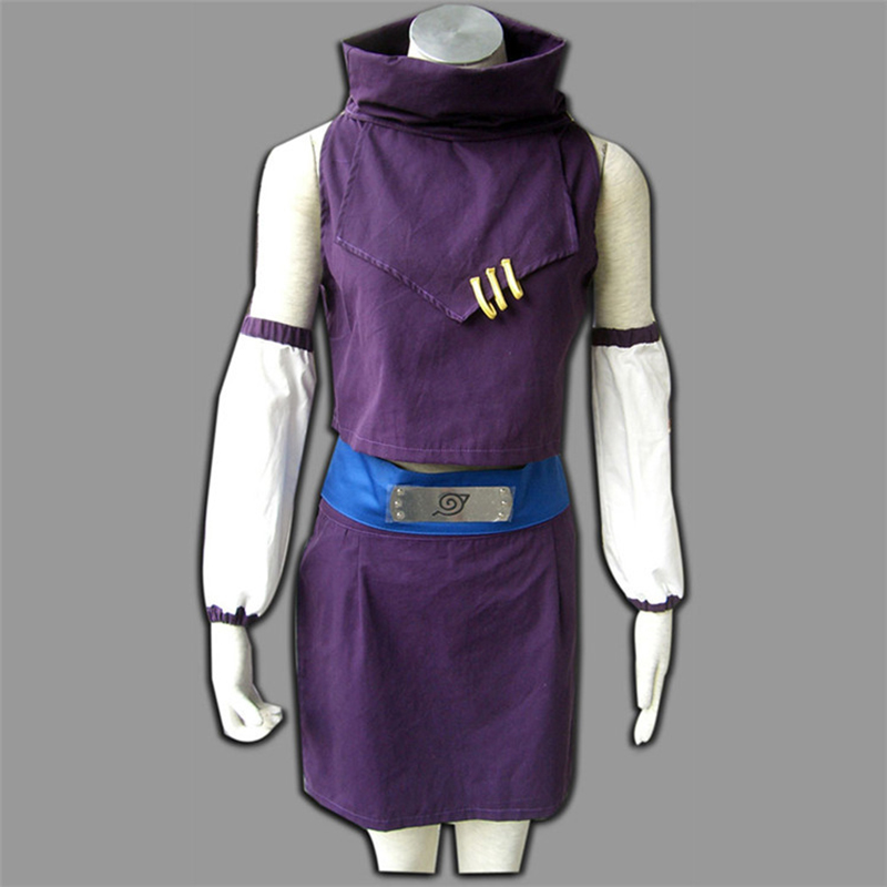 Teen Naruto Game Anime Costume Girl Cosplay Purple Top + Skirt + Sleeve + Belt Halloween Party Masquerade Costume image