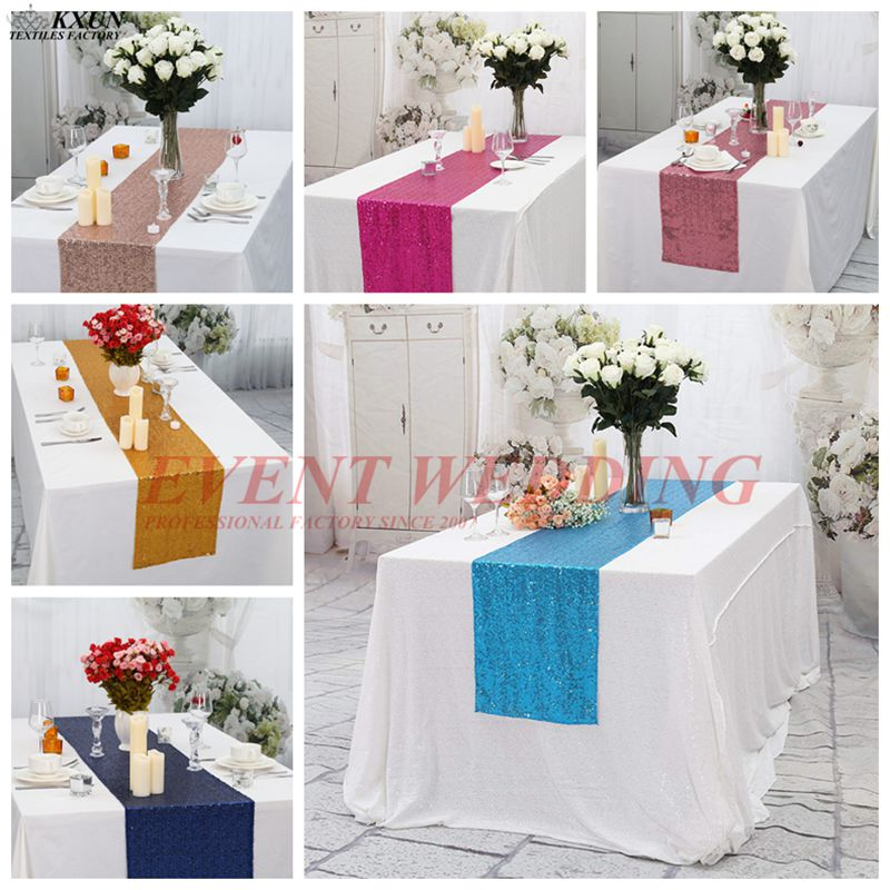 10pcs Lot Sequin Table Runner Wedding Table Cloth Runners Event Hotel Decoration