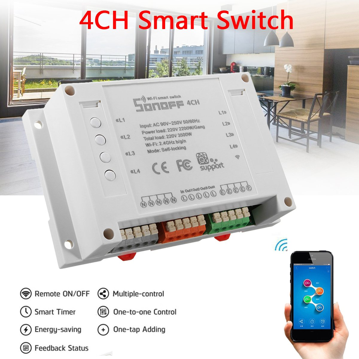 Sonoff 4Channel Smart Wifi Switch DIY Smart Wireless Remote Switch ...