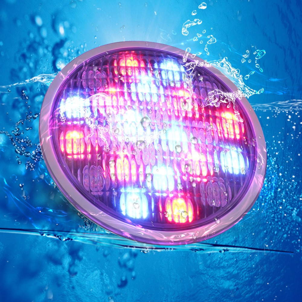 Stock in China 72W RGB Stainless LED Swimming Pool Pond Led Par56 Lamp AC12V Waterproof IP68 with CE FCC&ROHS hot sale stainless steel pc remote control underwater light ip68 par56 72w rgb ac12v led swimming pool light safe in used