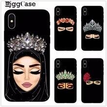 Muçulmano islâmico gril olhos árabe hijab menina caso de telefone capa para o iphone x 8 8 plus 7 mais 6 6s mais 5 5S se preto protetor escudo