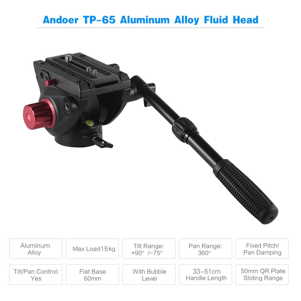 Andoer tripod TP 65 Aluminum Alloy Fluid Drag Head Photography Hydraulic Head Three dimensional stand Head