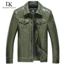 Dusen Klein 2017 New Men Genuine Leather Jacket Sheepskin Leather Coat Slim/Green/Black 14L14050