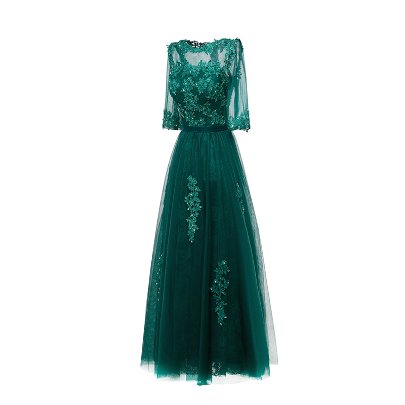 Fishday Evening Dresses A line Mint Emerald Green Lace Tulle Beaded ...