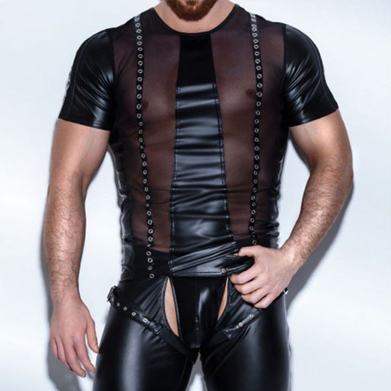 Sexy Gothic Men's Sheer Mesh Faux Leather Short Sleeve T-Shirt Tops Mens Funny t shirts Exotic Fitness Breathable Undershirt XXL