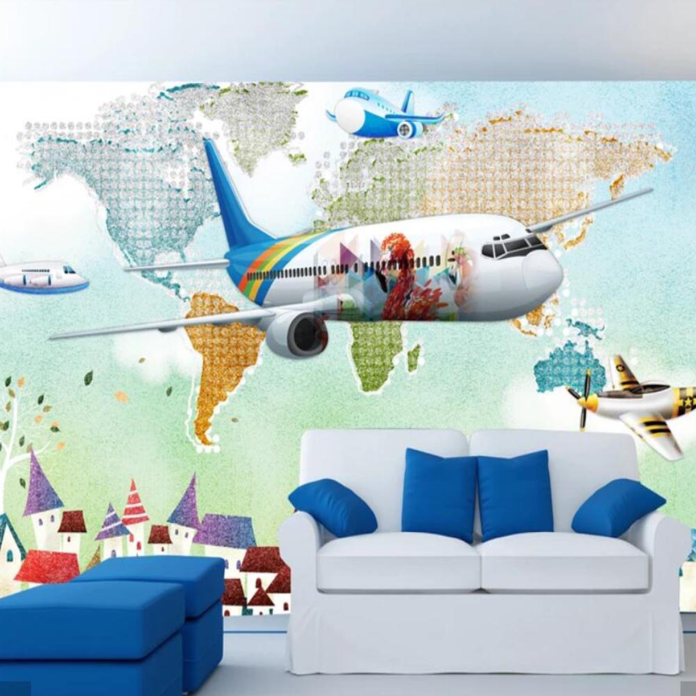 Us 8 46 53 Off 3d Watercolor World Map Airplane Wallpaper Murals For Kids Living Room Art Wall Decals Contact Paper Roll 3d Wall Murals Custom In