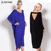 hot sale Plus Size women clothing autumn long dress 2018 big/large size New Casual Batwing elegant Irregular vestidos robe femme