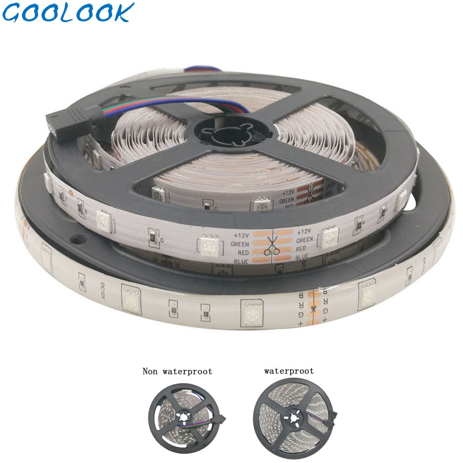 Goolook SMD 5m DC 12V 5050 2835 RGB Led Strip Light  Led Light Tape Diode RGB Ribbon Waterproof Strip No Power No Controller