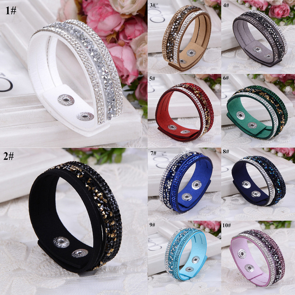 1pcs Fashion Bracelets For Women Rhinestone Velvet Bracelets 10 Colors Christmas Birthday Gift SB7177E