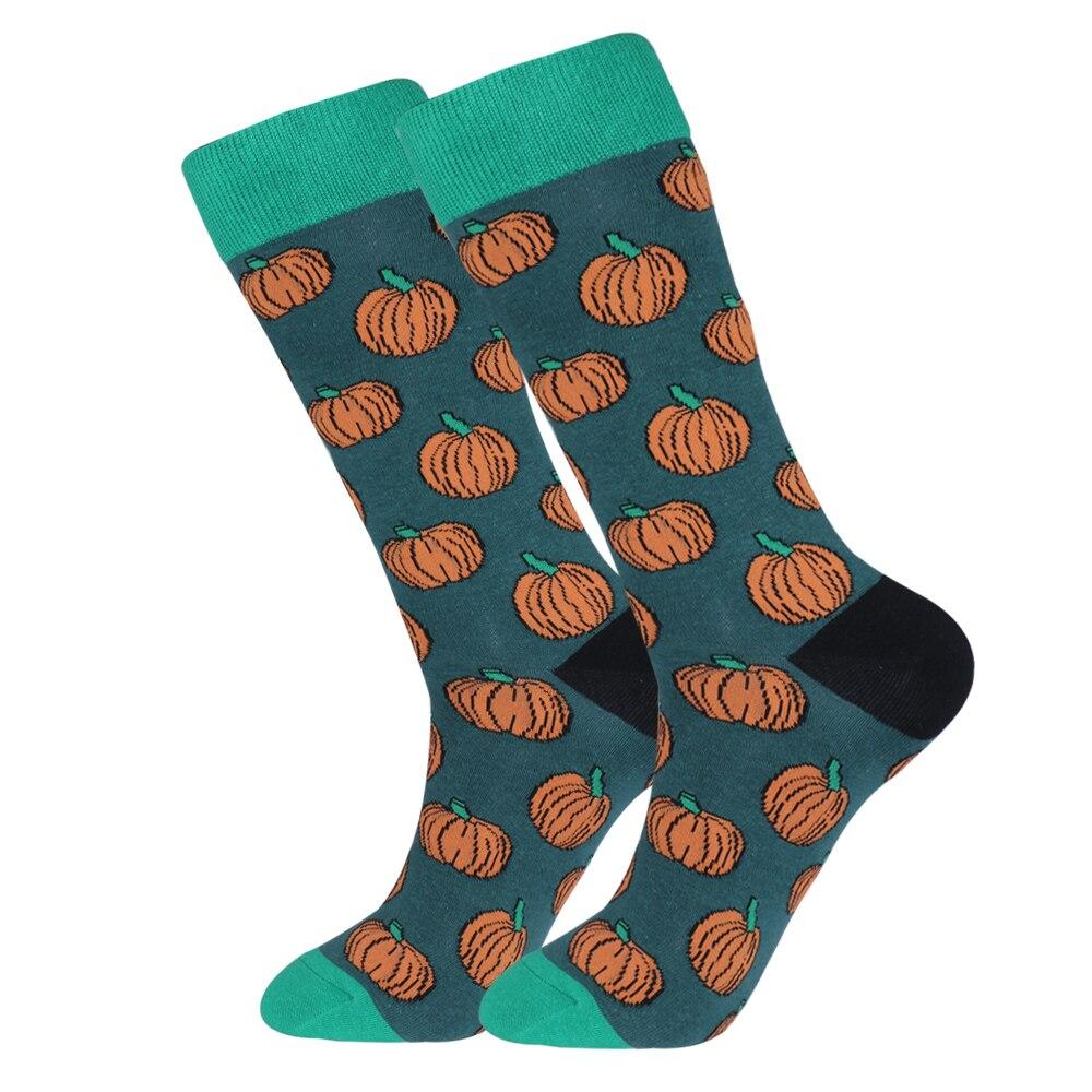 Funky Men Pumpkin Dress Socks Novelty Funny Unisex Halloween Dark Green Casual Long Sock For Large Size