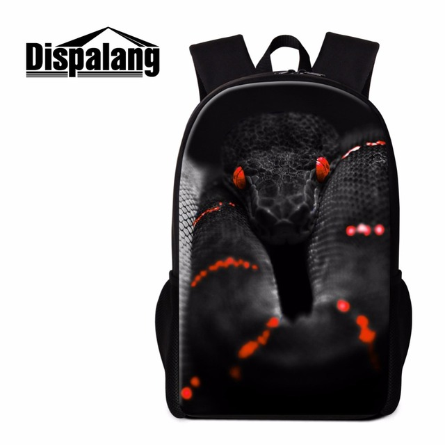 Dispalang Cool Black Snake School Backpack For Boys Unique Bookbags Guys S Lightweight Back Pack Rucksacks