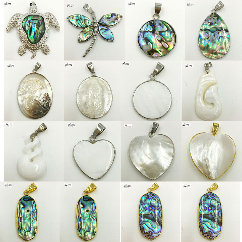 New Zealand Abalone Mother Of Pearl Shell Oval Heart Round Butterfly Turtle Jesus Women Pendant Bead 1pcs WFH628