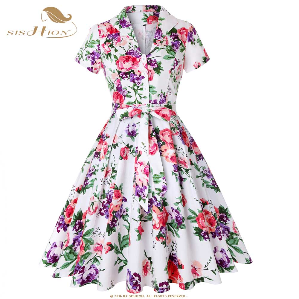 US $19.98 20% OFF|SISHION Cotton White with Blue Red Flower Floral Dress  Women Ladies Summer Party Plus Size Pin Up Retro Vintage Dress SD0002-in ...