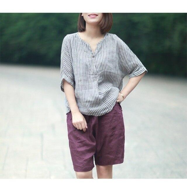 558577aba2ca0 New Summer 2017 High-quality Cotton Linen Shirt Femme Half Sleeve Simple  Strip Loose Women