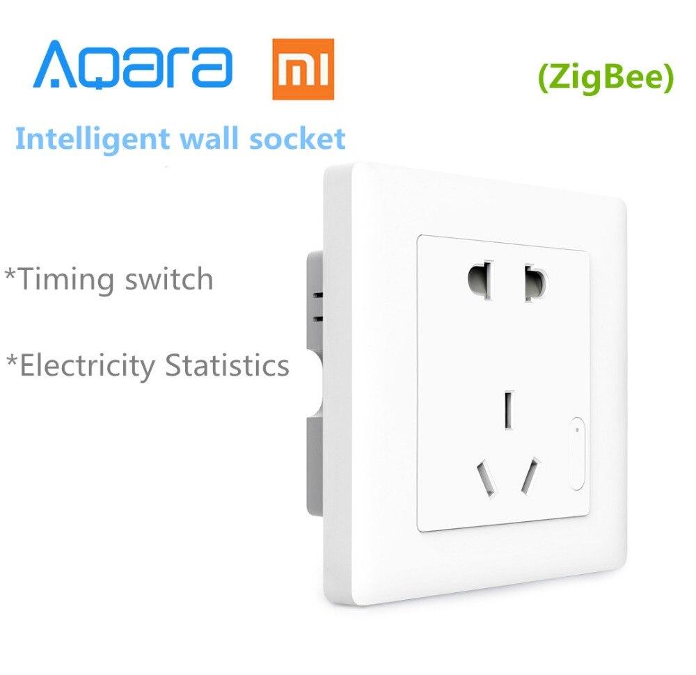 imágenes para Original Xiaomi Aqara domótica ZiGBee Control de Luz Inteligente Toma de Interruptor de Pared Enchufe A Través de Smartphone Xiaomi APP Remoto Inalámbrico