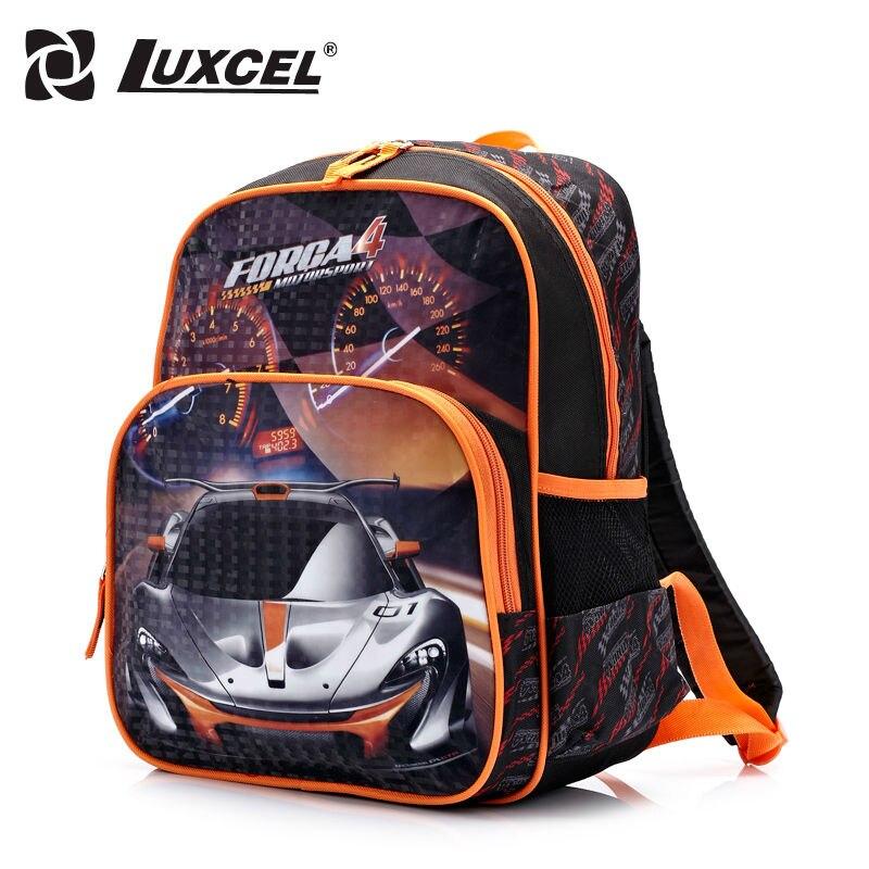 Luxcel waterproof Boy School font b Backpack b font Racing Car cartoon children schoolbag font b