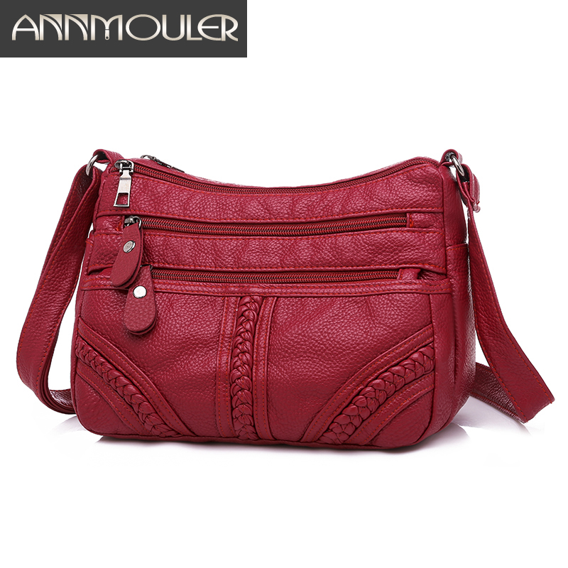 Annmouler Fashion Women Bag Pu Soft Leather Shoulder Bag Multi layer Crossbody Bag Quality Small Bag Brand Red Handbag Purse-in Shoulder Bags from Luggage & Bags