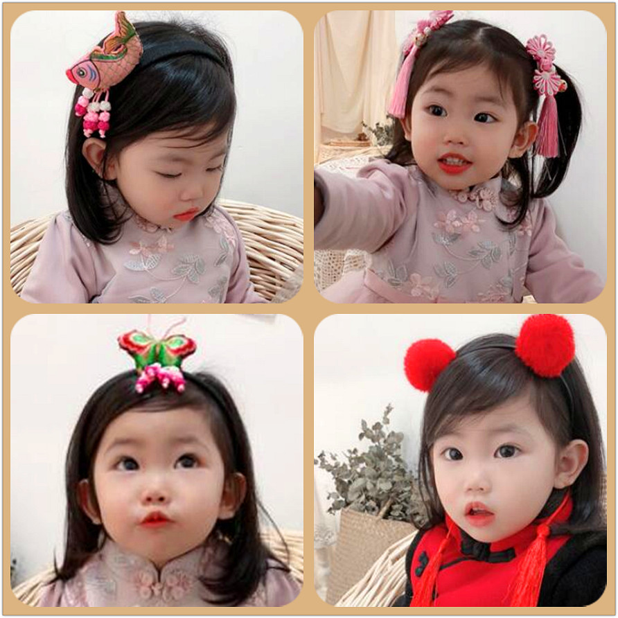 2pcs/lot Chinese New year Kids hair accessories fluffy Pompom Ball Tassel Hairpin barrette Festival Hair Clips for girls Бороскопы