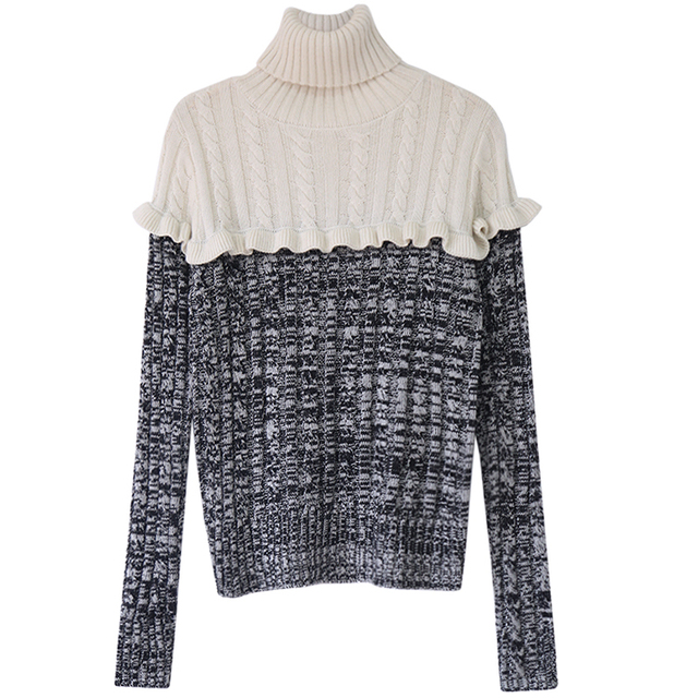 women winter runway sweaters high quality brand fashion vintage ruffles turtleneck wool sweater pullover jumper knitwear