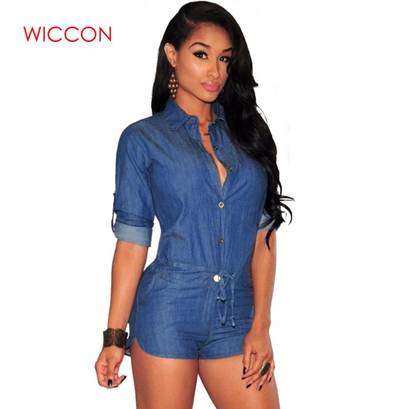 2019 Spring Wear Women Plus Size Summer Denim Jumpsuit Shorts T-shirt Short Overall Casual Jeans Romper Solid Button Blue Color