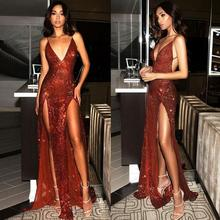 Prom-Dress Burgundy Spaghetti-Straps Sequined Open-Back Sparkly Long-Smiple Sexy Slit