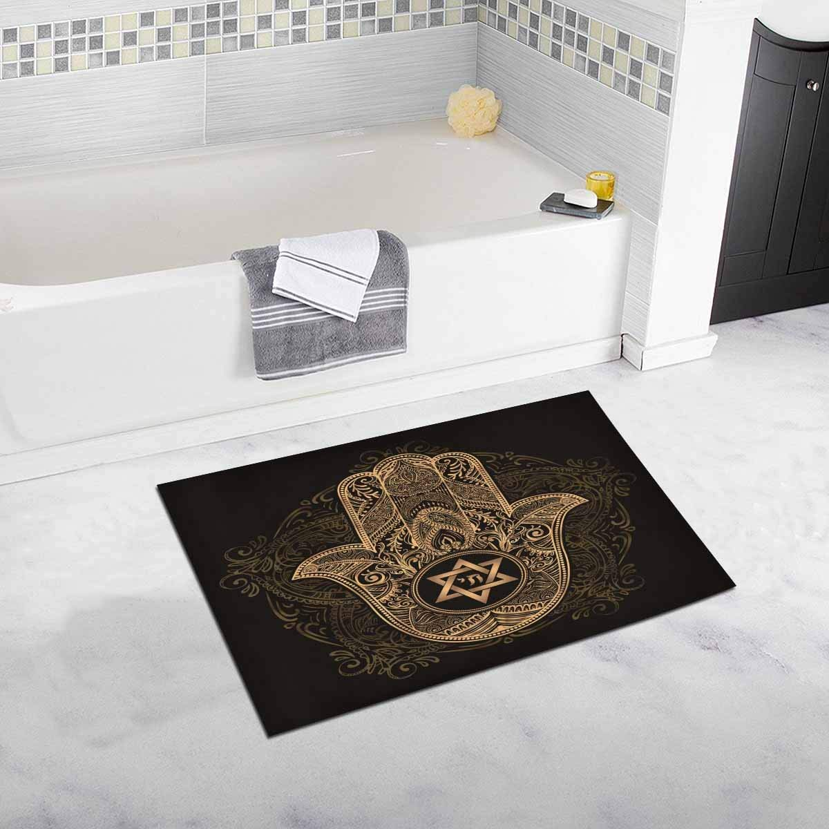 Elegant Traditional Jewish Soft Shaggy Bath Mat Non-slip Rubber Bathroom Rug Floor Mats